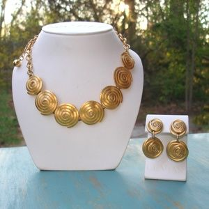 Chunky Gold Necklace Set Statement Earring VINTAGE